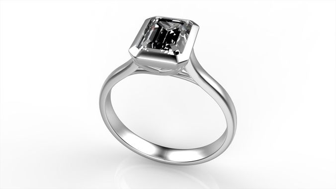 elegand emerald diamond engagement ring all size 3d model stl 3dm 1