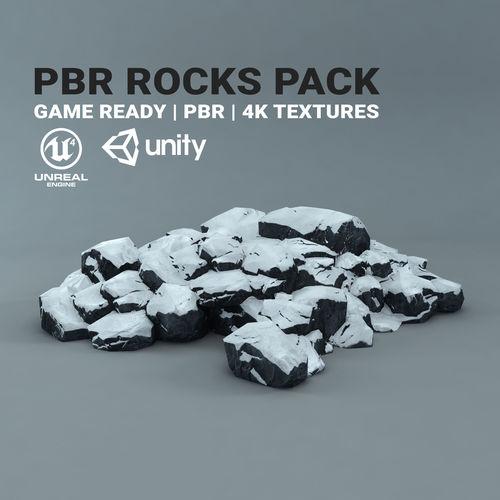 snow rocks - pbr pack - game ready 3d model low-poly max obj mtl fbx tga 1