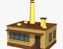 Industrial Factory with Yellow Chimney 3D model