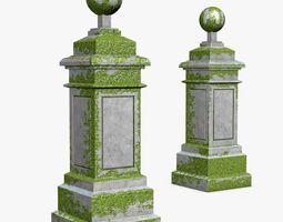 3D model low-poly Ancient Pillars