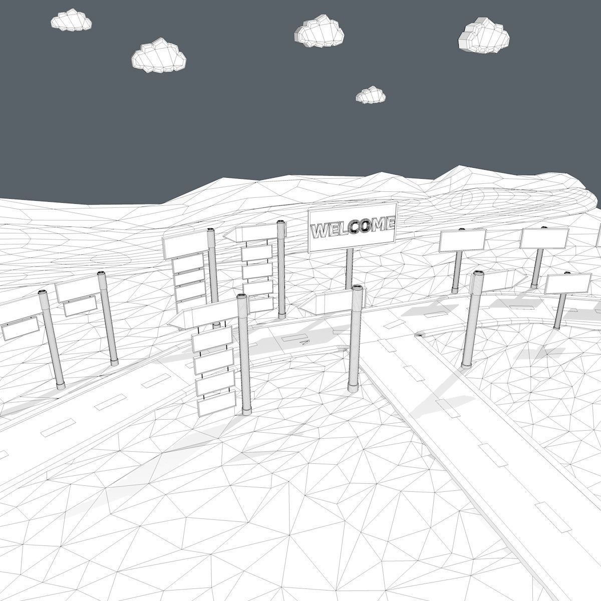 Cartoon Road Scene 3D model | CGTrader