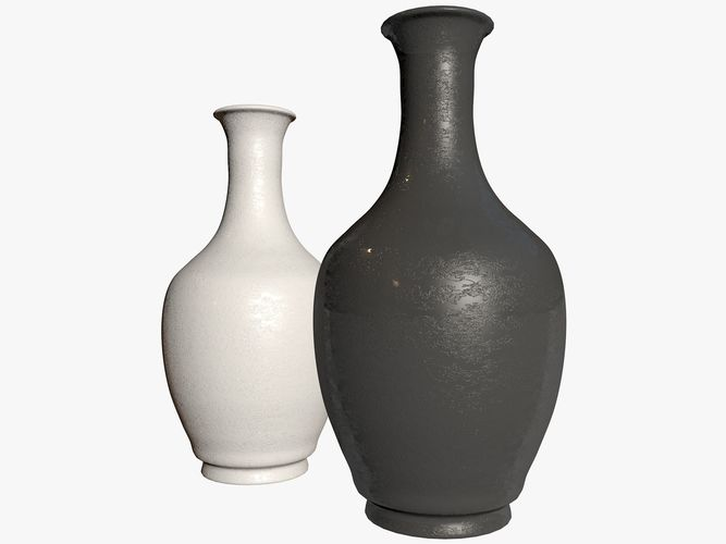 3d Model Two Green And Brown Vases Cgtrader