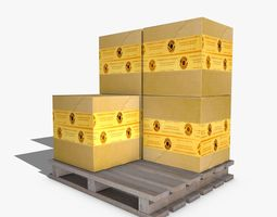 Boxes on a Pallet 3D asset