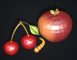 3D model Cherry and Apple with Worm