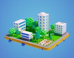 Low Poly City Block 3D asset