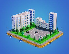 3D model Low Poly City Block