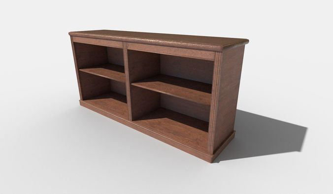 Small Bookshelf Low Poly 3D Model