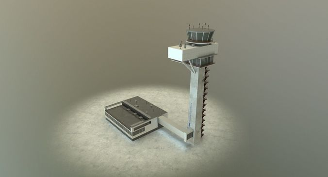 eddb control tower 3d model low-poly max obj 3ds fbx mtl 1