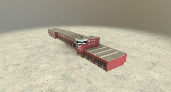 eddb fire department 2  3d model low-poly max obj mtl 3ds fbx 1