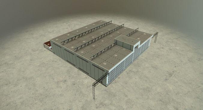 eddb hangar 1 3d model low-poly max obj 3ds fbx ma mb mtl 1