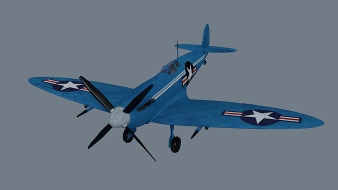 Spitfire  low-poly 3D model