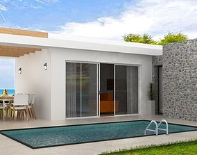 3D asset modern house with pool- Mediterranean style