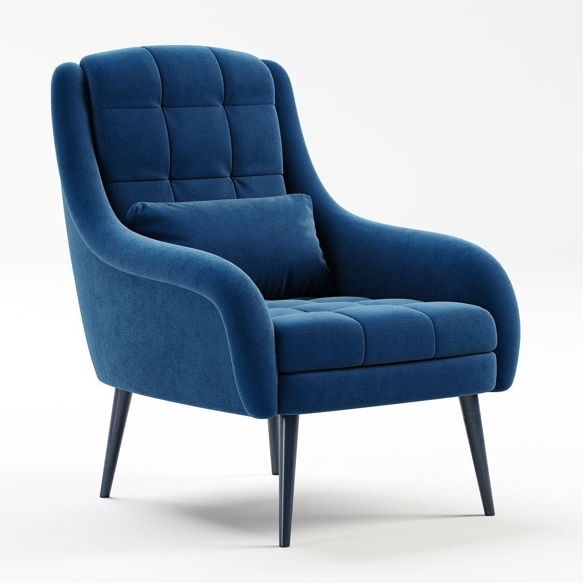 OBrien Blue Velvet Armchair 3D Model