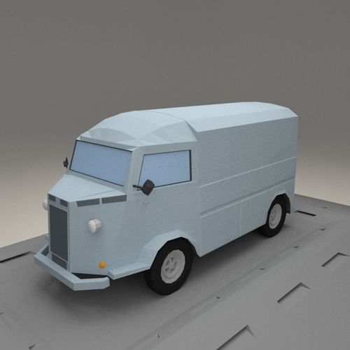 citroen h from 1964 3d model low-poly max obj mtl 3ds fbx blend 1