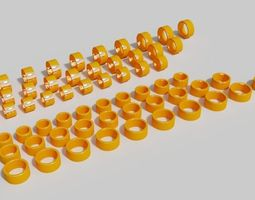 3D printable model 10mm with golden rings