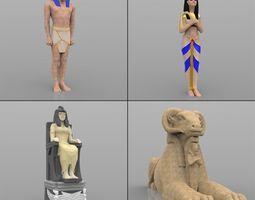 Egyptian Statues 3D asset
