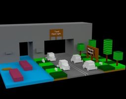 3D model Low Poly Isometric Road
