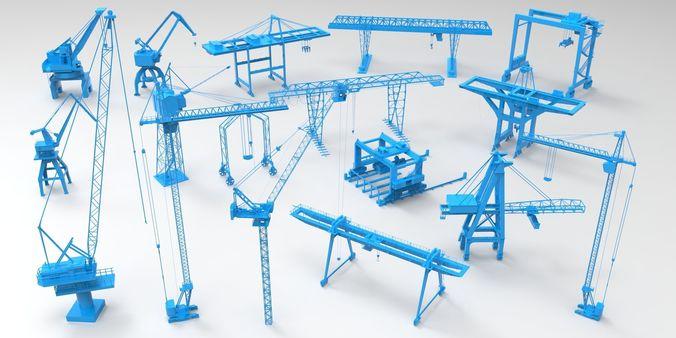 cranes - 17 pieces 3d model max obj mtl fbx stl 1