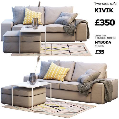 two seat sofa ikea kivik 2 3d cgtrader. Black Bedroom Furniture Sets. Home Design Ideas