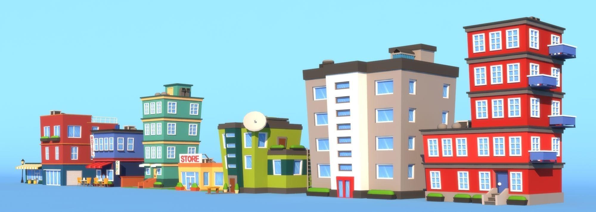 Cartoon Buildings Model Low Poly Max Obj Mtl Fbx