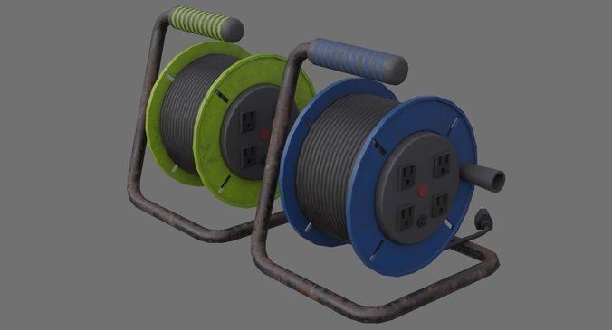 extension cord reel 1b 3d model low-poly obj mtl fbx blend 1