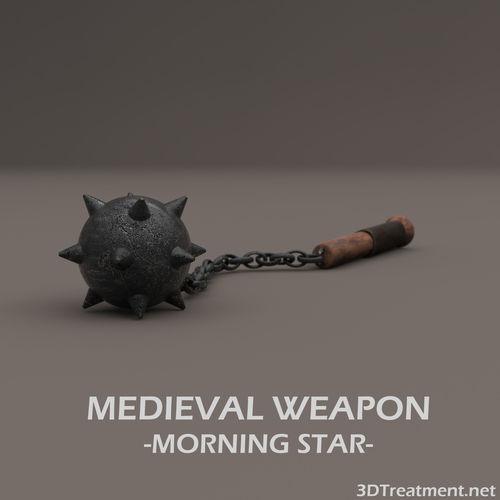 medieval weapon morning star 3d model low-poly obj mtl 3ds fbx c4d stl 1