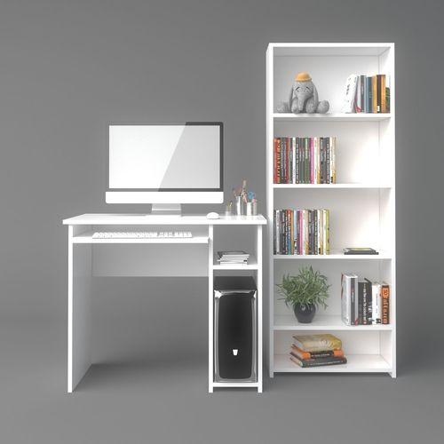 computer desk and bookshelf 3d model max 1