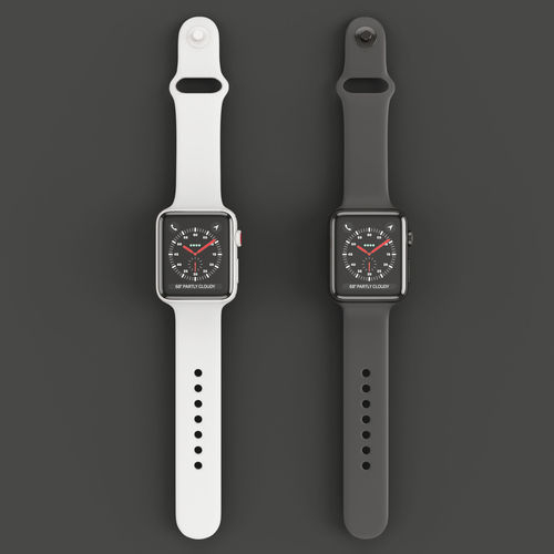3e6af1aaa5923 Apple Watch Edition Series 3 42mm Sport Band Black and White 3D model