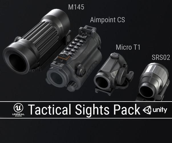 pbr tactical sights pack 3d model low-poly obj mtl fbx ma mb dae tga 1