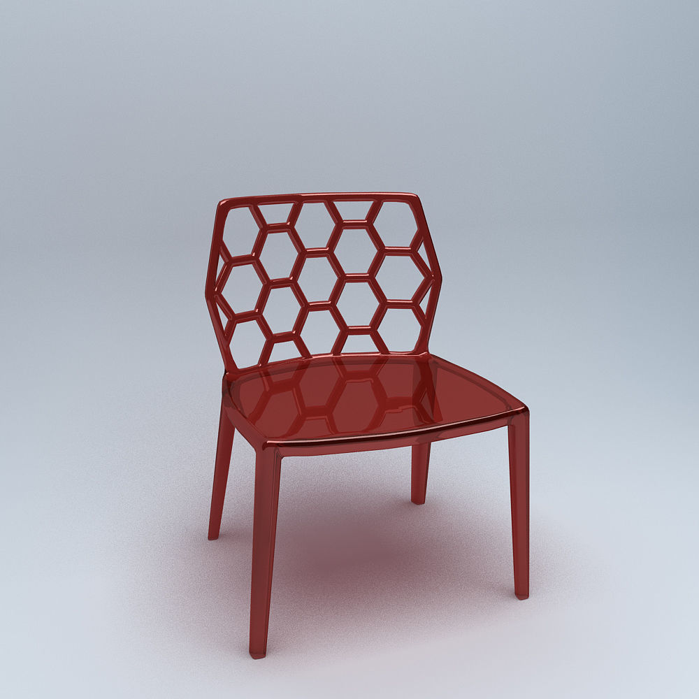 3D model Red Honeycomb Acrylic Modern Dining Chair