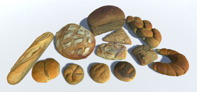 breads buns and rolls 3d model fbx 1