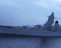 3D model Dunkerque battleship