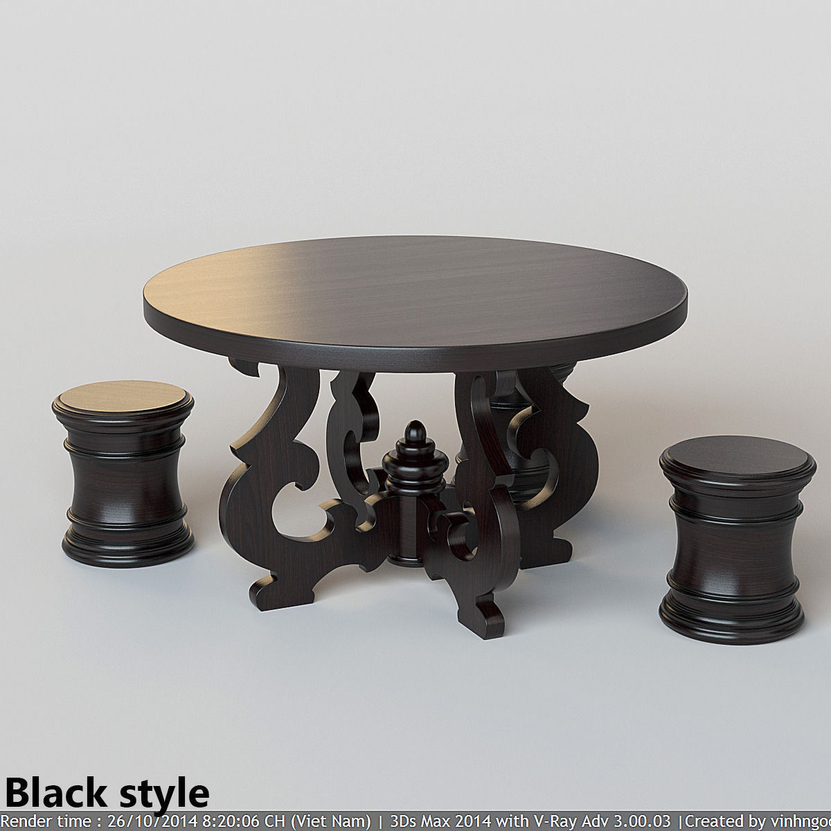 French Country Round Dining Table 3d Model Max Fbx 2
