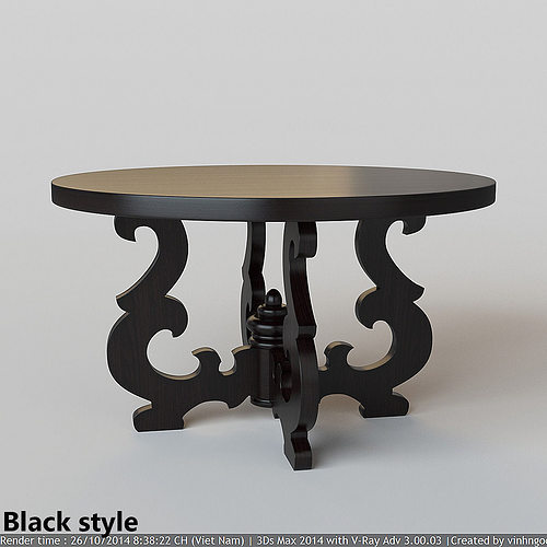 French Country Round Dining Table Model