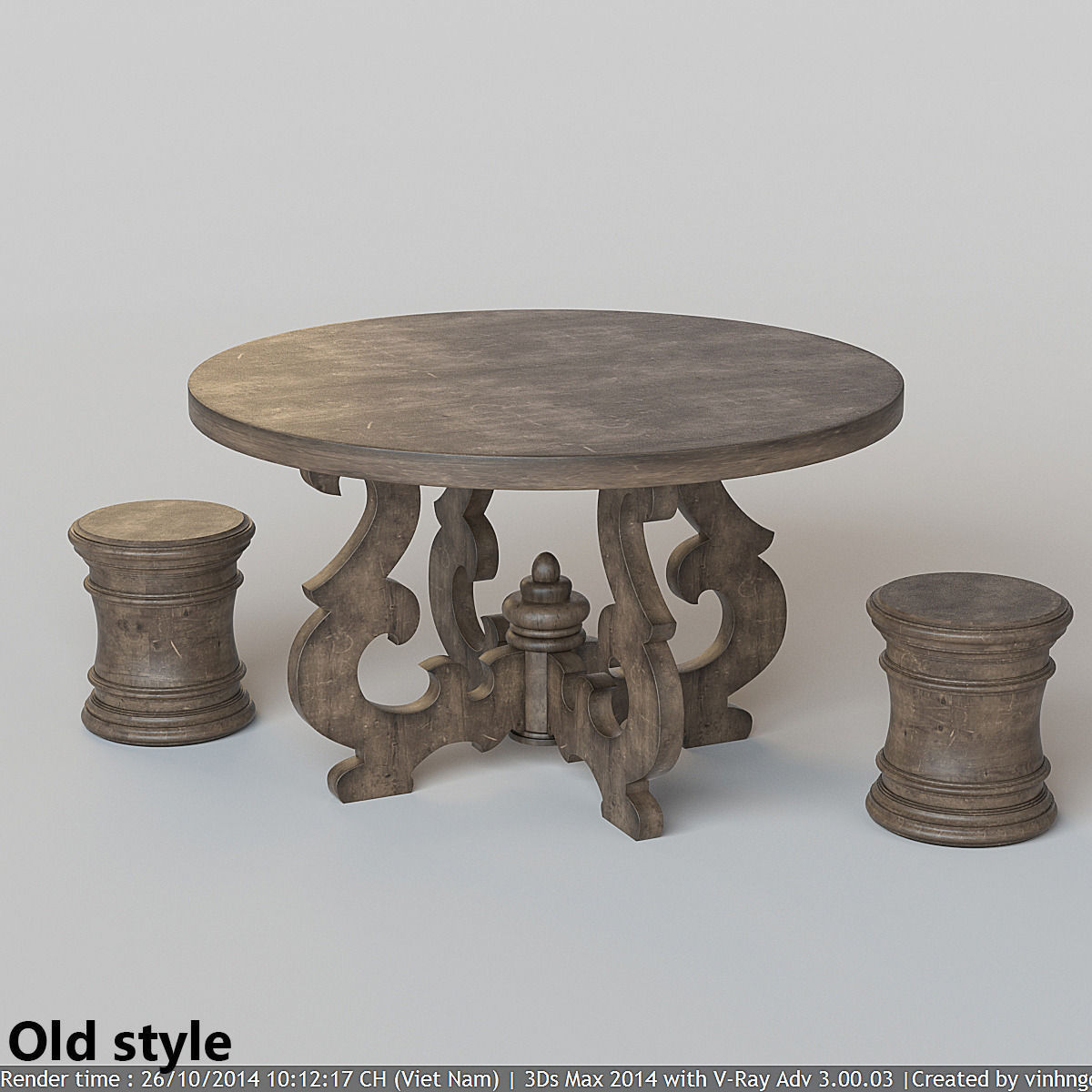 French Country Round Dining Table 3d Model Max Fbx 5