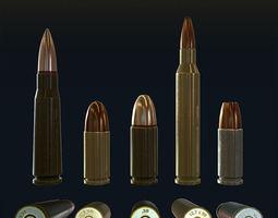 3D asset Low Poly Bullets