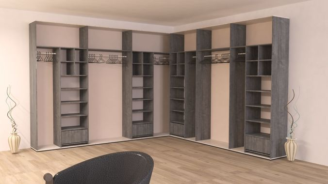 closet wood or wardrobe and cabinet  - collection  3d model max 1