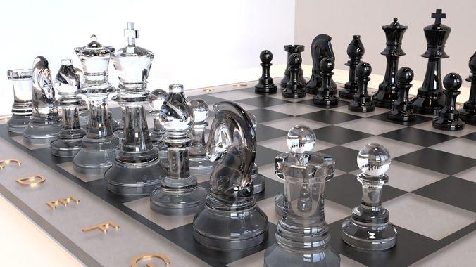 glass chess set 3d model blend 1