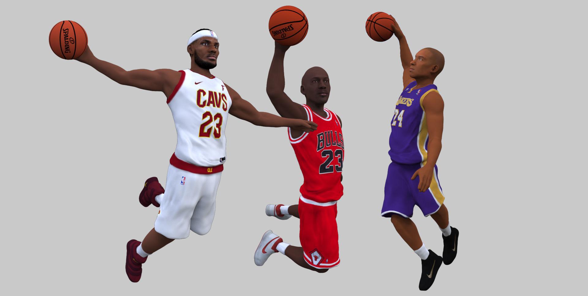 NBA players Jordan Lebron Kobe pack for full color 3D printing