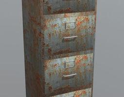 3D asset Random Rusty Filing Cabinet