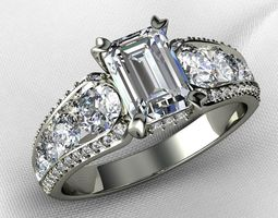 Emerald Cut with Channel setting Engagement 3D print model
