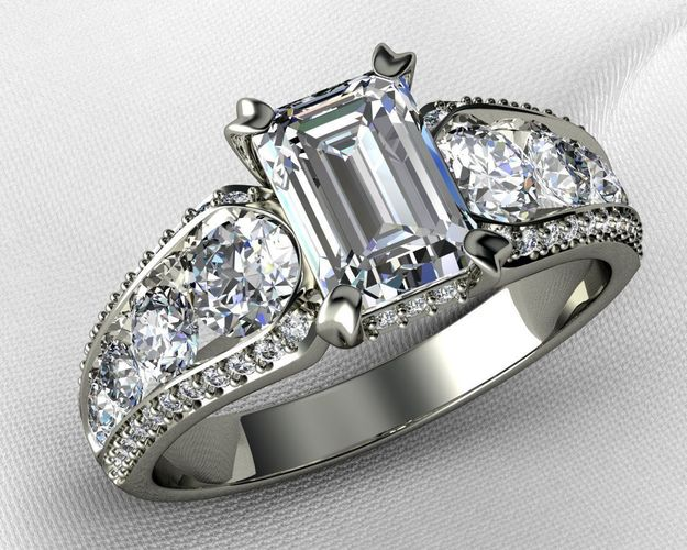 emerald cut with channel setting engagement ring 3d model stl 3dm 1