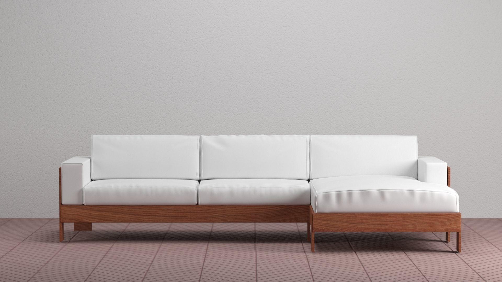 Wood Sofa With White Pillows V Ray And Corona Ready Render Model Max Obj