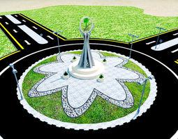 3D model landscape high way