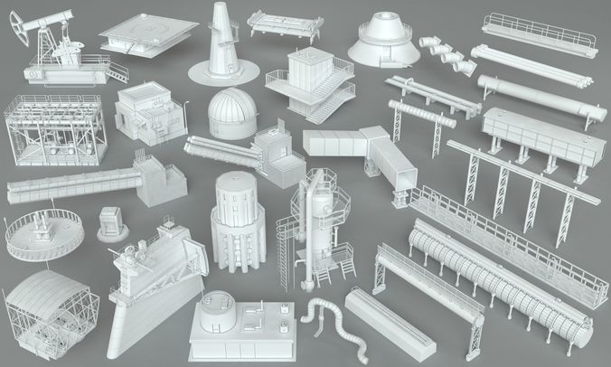 factory units-part-1 - 32 pieces 3d model max obj mtl fbx stl 1