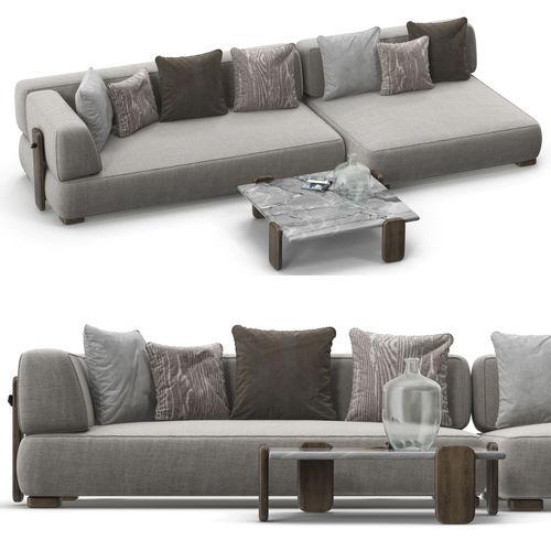 3d Model Minotti Florida Sofa Set 02 Cgtrader