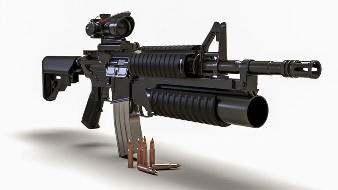 M4a1 Rifle Gun 3d Cgtrader