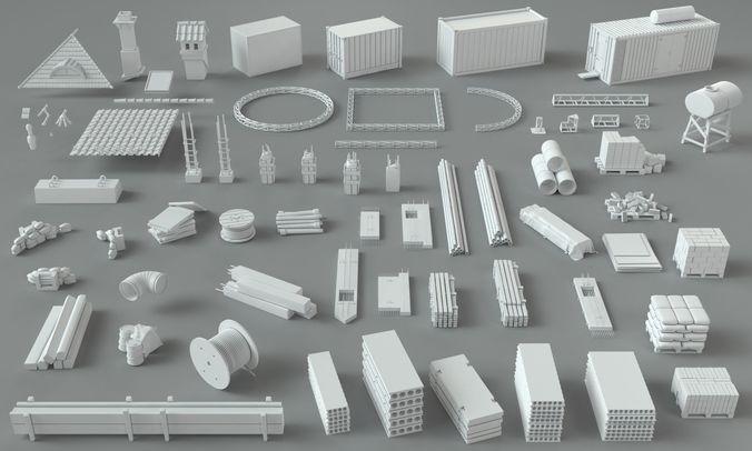 construction pack- 66 pieces 3d model max obj mtl fbx stl 1