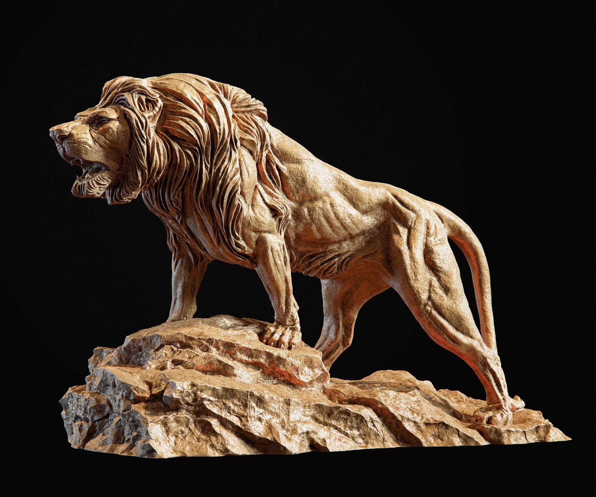 Lion Sculpture 3d print model
