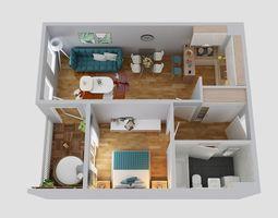 floor plan apartment 3D model
